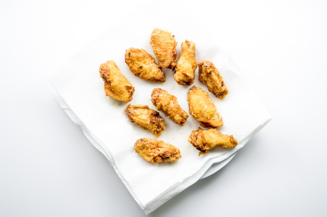 Korean fried chicken wings: after the second fry. The wings are crispier and more fat has rendered out from under the skin.