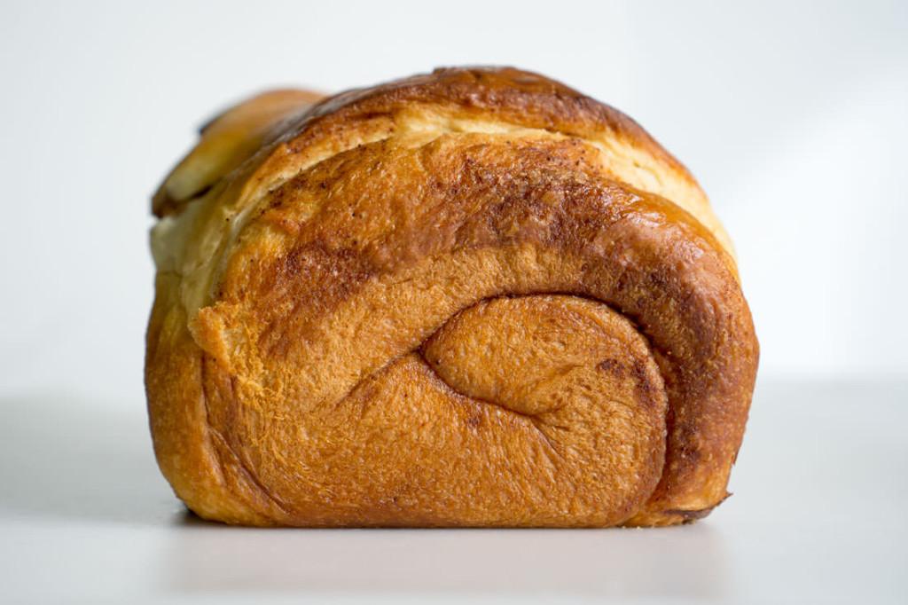 Freshly baked cinnamon-swirl Japanese milk bread