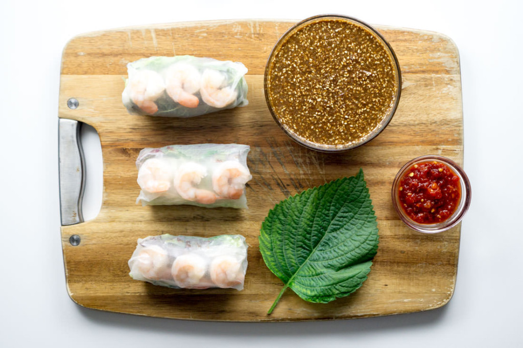 Shrimp Spring Rolls with Perilla Leaf and Sesame Goma Dare Sauce and Sambal Oelek