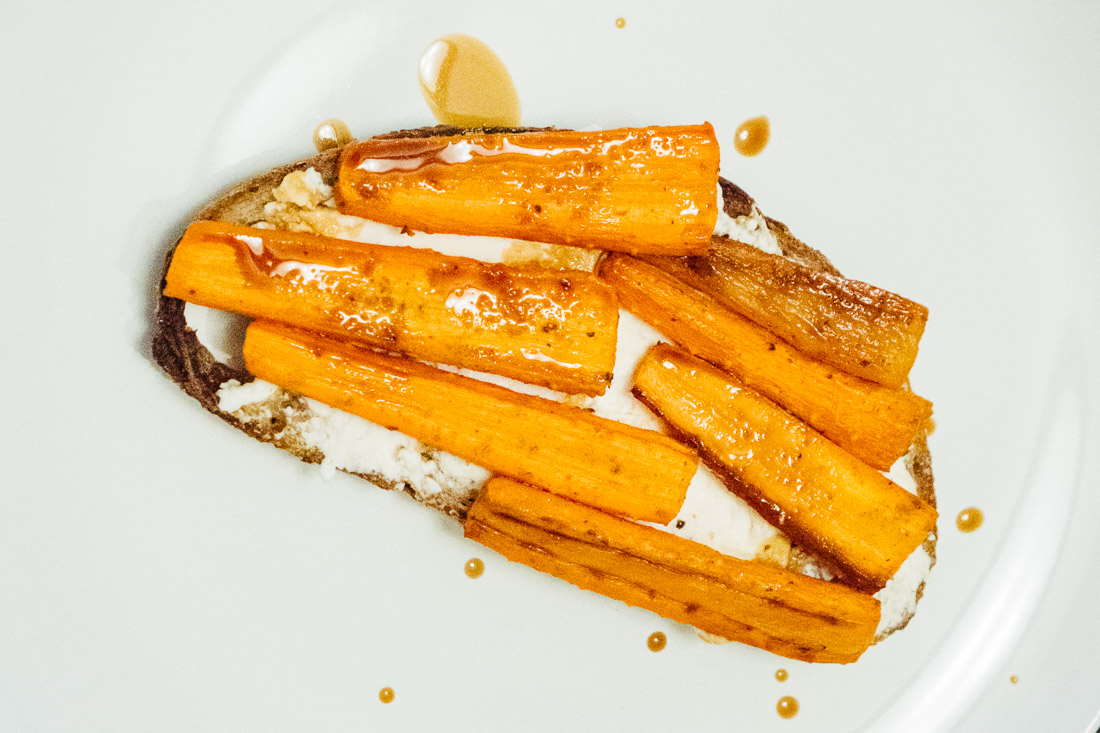 Roasted Carrot Goat Cheese Balsamic Tartine
