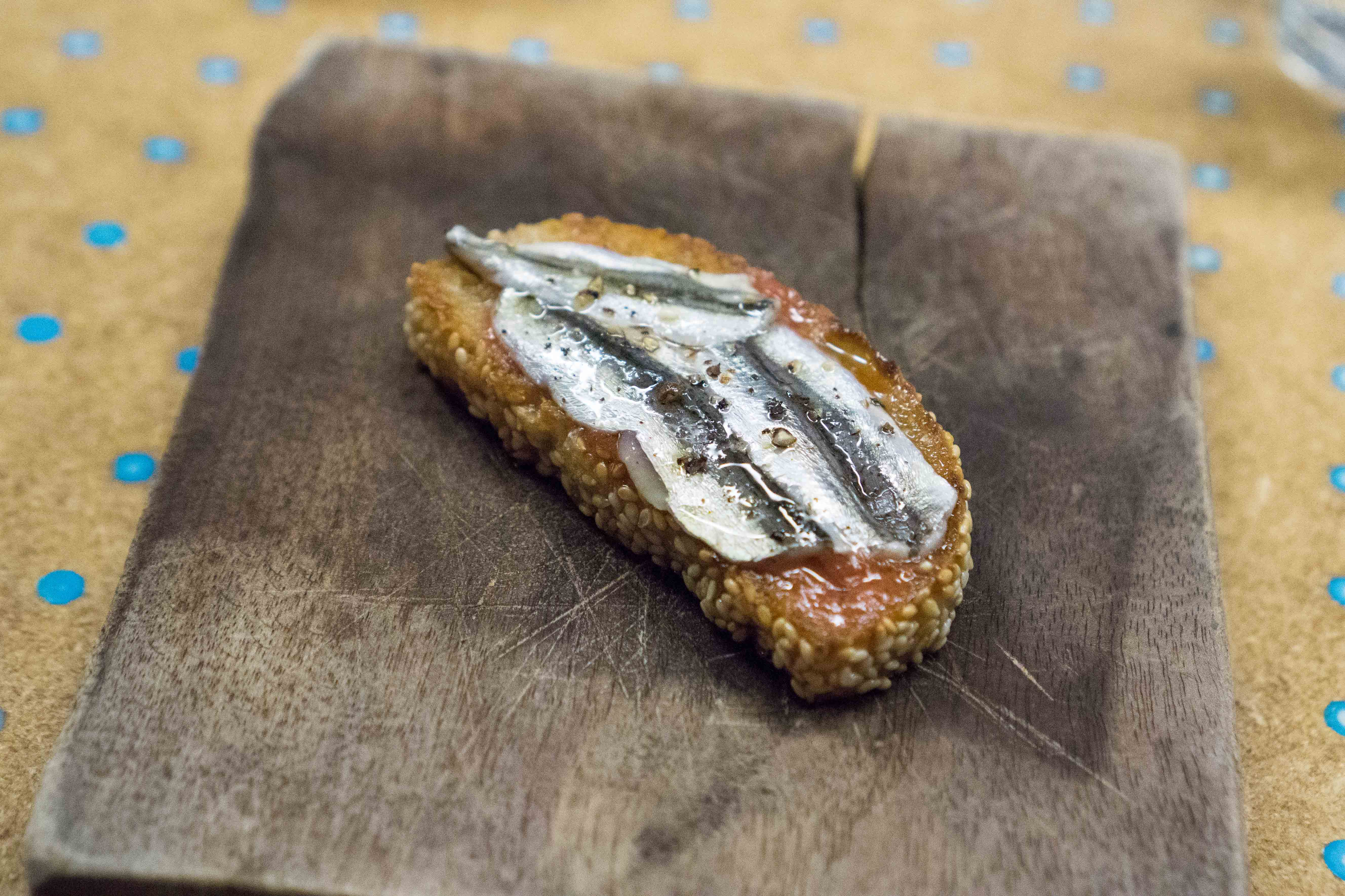 Pickled Local Anchovy-Tomato Toast